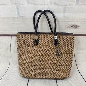 Brighton Woven Straw Tote Purse Leather Handles